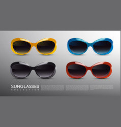 fashionable modern sunglasses set vector image