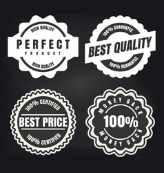 Round high quality products labels set vector