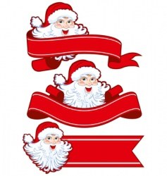 Christmas ribbon with santa claus vector