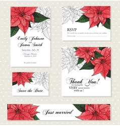 Poinsettia flower background for invitation card vector