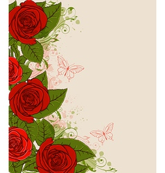 Decorative background with red roses vector