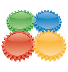 3d colorful gears set vector image vector image