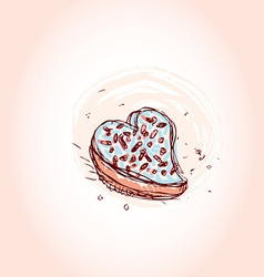 Cake in the shape of heart hand drawn sketch on vector