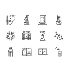 Flat line chemistry research icons vector