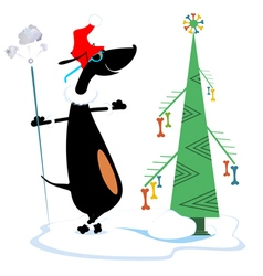 Dog keeps christmas and new year day vector