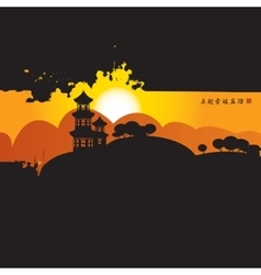 Chinese village on mountains vector