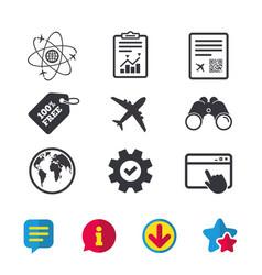 Airplane icons world globe symbol vector