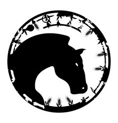 Black stamp in the form of a horse a vector illust vector