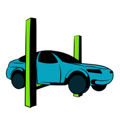 Car on the lift icon cartoon vector