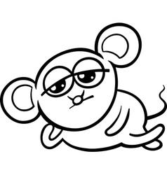 cartoon kawaii mouse coloring page vector image