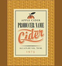 cider label in a frame on the basket vector image