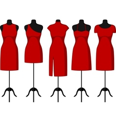 Cocktail and evening dresses on mannequin vector