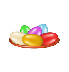 Colored eggs in a bowl vector
