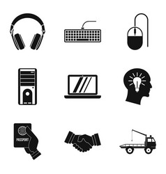 computer help icons set simple style vector image vector image