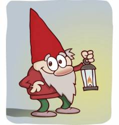 Cute little gnome with lantern vector