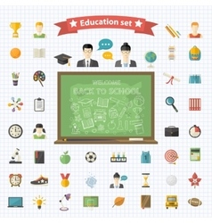 education big set in flat style vector image