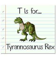 Flashcard letter t is for tyrannosaurus rex vector