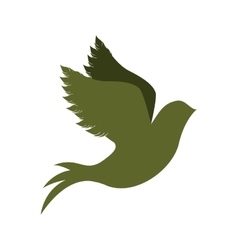 green silhouette of pigeon start to fly vector image vector image