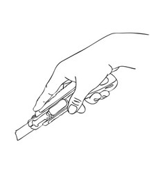 hand with cutter knife vector image