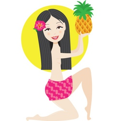 hawaiian girl vector image vector image