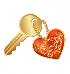 heart and key vector image vector image
