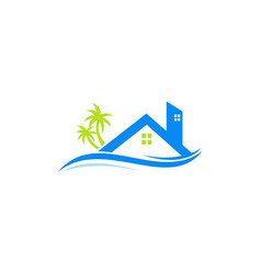 house builing with tree and waves logo vector image vector image