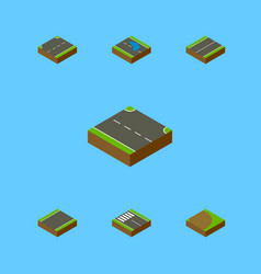 Isometric road set of upwards rotation strip and vector