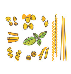 Italian pasta set and basil leaf vector