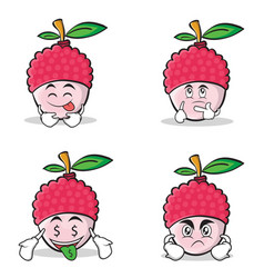 lychee cartoon character style set collection vector image