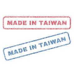 Made in taiwan textile stamps vector