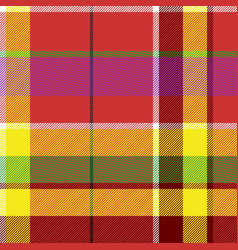 madras colored plaid diagonal fabric texture vector image vector image
