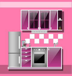 modern interior kitchen room in pink tones vector image