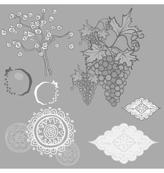 Oriental pattern sun clouds grapes pomegranate vector