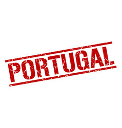 Portugal red square stamp vector