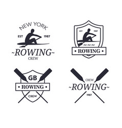 Rowing team logo emblem of rowing crew vector