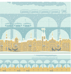Seamless ornament with old winter town and bridges vector