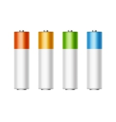 Set of Alkaline AA Batteries Diffrent Color vector image vector image