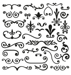 Set of flourishes calligraphic elegant ornament vector