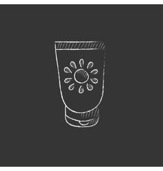 Sunscreen drawn in chalk icon vector