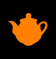 tea maker sign orange icon on black background vector image vector image