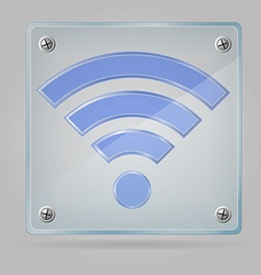 transparent sign wi fi on the plate 01 vector image