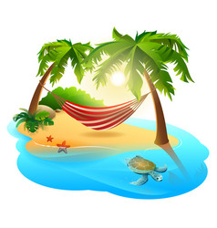 Tropical island and hammock among palm trees vector
