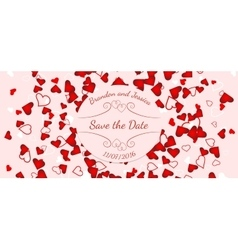Wedding banner over scattered red and pink hearts vector image