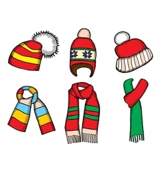 Winter clothes santa stocking cap vector
