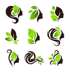 woman natural beauty hair spa salon logo design vector image vector image