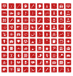 100 diagnostic icons set grunge red vector