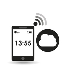 Cellphone internet cloud network media icon vector