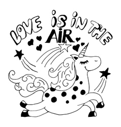 Love is in the air unicorn vector