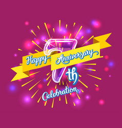 Happy 7th anniversary glass bulb numbers set vector