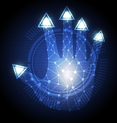 hand press triangle button vector image